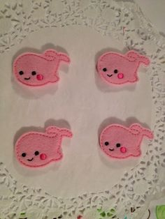 Smiling Pink felt whale mini applique