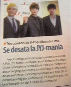 BILLBOARD KOREA: Concerts taking place in Chile and Peru recorded a sell out of 9000 tickets. In Chile, JYJ performed to a full crowd of 3000 people. In Peru, all 6000 tickets were sold out. Originally, promoters released 5000 tickets but had to add 1000 additional seats once those sold out at an amazing rate.