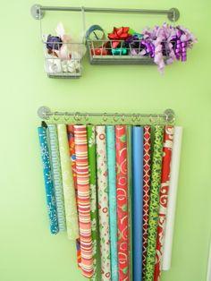Gift Wrapping storage - Ikea kitchen products #craft #hiddenstorage http://www.nichedesignsinc.com/uncover-hidden-storage-event/