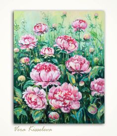 """Peonies Original Acrylic Painting on Canvas 20 x 16 Pink Garden Flowers. MADE TO ORDER  Title: Peonies  Medium: Acrylic. Size: 20""""x16""""x3/4"""" (50,5 cm"""