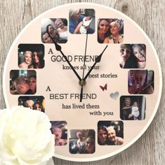 Personalised clock - Friend A good friend knows all your best stories, A best friend has lived them with you . Add 12 photos and change the colour background to personalise this stunning clock Friends Picture Frame, Collage Picture Frames, Picture Frame Tattoos, Collage Online, Personalized Clocks, Photo Clock, Framed Tattoo, Friend Collage, Beautiful Hotels