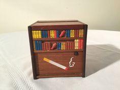 Vintage Cigarette Dispenser Wood Pop Up Dog Wind Up Animated Japan F34206  | eBay