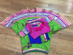 Designer Raw Silk Green & Royal Blue 3PC Lengha by AnmolEthnics