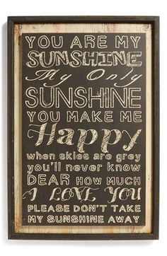 VIP International 'You Are My Sunshine' Wall Art available at #Nordstrom