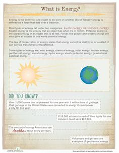 Worksheets: What is Energy?