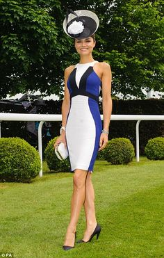 Epsom Races 2013 - Radiant: Les Miserables star Samantha Barks, 22, looked stunning in a blue, white and black body con dress with a co-ordinating hat and white clutch bag