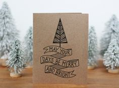 Merry and Bright Christmas Card Set of 10 - Hand Lettered Holiday Cards. $20.00, via Etsy.