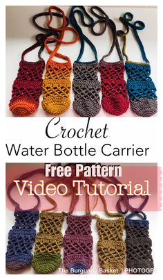 Crochet Water Bottle Carrier – The Burgundy Basket