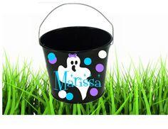 Halloween Bucket Custom  Metal Bucket with by PersonalizedbyDawn