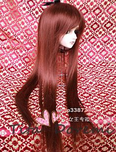 "1/3 8-9"" Dal Pullip BJD SD DZ DOD LUTS dollfie Doll long brown wig E62 in Dolls & Bears, Dolls, Doll Making & Repair   eBay"