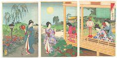 豊原周延: The Moon at a Vacation House - Japanese Art Open Database