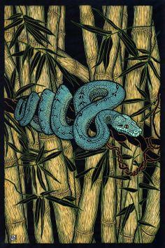 Rachel Newling ~ Green Tree Python (linocut, hand-coloured)