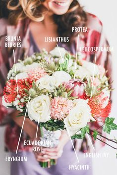 Rose, protea and hyacinth bridal bouquet // Floral Bouquet Recipes by Theme - Part 1