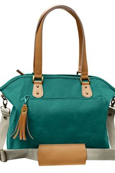 Look at this color!!! Teal Cotton Canvas Leather Trimmed Tote by TheYellowPacifier