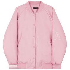 HIDE AND SEEKFaux Leather Varsity Jacket | MIXXMIX ($75) ❤ liked on Polyvore featuring outerwear, jackets, coats, varsity bomber jacket, pink letterman jacket, letterman jackets, letter jacket and real leather jacket