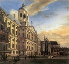 Amsterdam, Dam Square with the Town Hall and the Nieuwe Kerk (Jan van der Heyden - ) Baroque Painting, City Painting, City Landscape, Landscape Paintings, Landscapes, Prison, Amsterdam Art, Dam Square, Paintings Famous