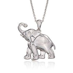 Ross-Simons - Sterling Silver Elephant Pendant Necklace With Diamond. - Symbol for Good Luck! Elephant Jewelry, Elephant Necklace, Animal Jewelry, Heart Jewelry, Cute Jewelry, Ariana Grande, Sterling Silver Necklaces, Silver Jewelry, Pendant Necklace