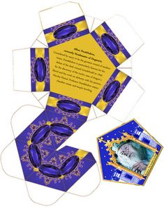 Chocolate Frog box template. And Wizard Cards.  Actually, this site has all kinds of Potter printables