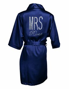 Rhinestone Mrs. Robe in Luxurious Silky Satin