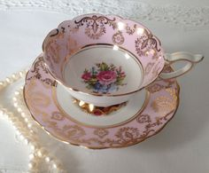 Pink Royal Stafford China Tea Cup and Saucer by TheEclecticAvenue