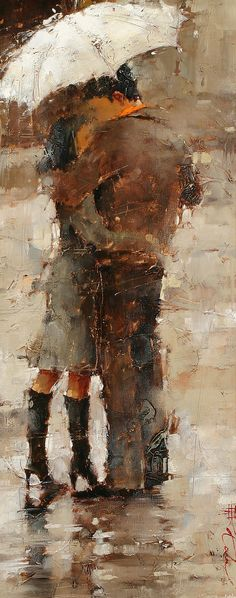 Andre Kohn - Rain or Shine www.andrekohn.com - there is something about paintings with umbrellas that I really love.