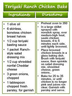 Teriyaki Ranch Chicken Bake ♥ 17 Day Diet Recipe