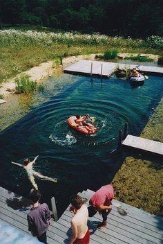 A yard pool that looks like a lake! Woahh