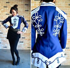 90s marching band jacket  retro stage gear  navy by vintagegrime, $34.00