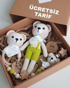 ✔ Handmade Toys For Kids Teddy Bears Crochet Baby Toys, Crochet Bear, Crochet Dolls, Tween Boy Gifts, Baby Gifts, Kit Bebe, Lol Dolls, Baby Rattle, Baby Knitting Patterns