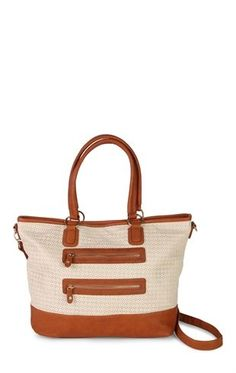 Deb Shops Two Tone Tote Bag with Perforated Design and Double Zipper $21.60