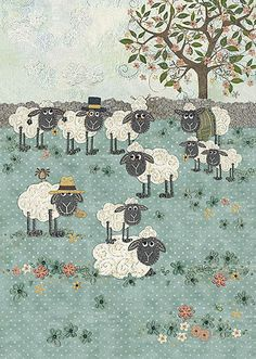 BugArt ~ Sheep Field. Amy's Cards *NEW* Original embroideries by Amy Butcher. Cards designed by Jane Crowther.