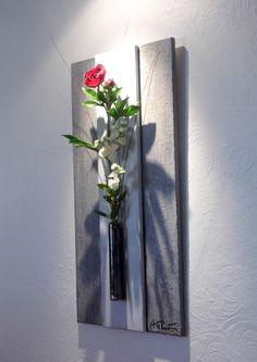 tableau avec fleurs artificielles collage printemps 3d. Black Bedroom Furniture Sets. Home Design Ideas