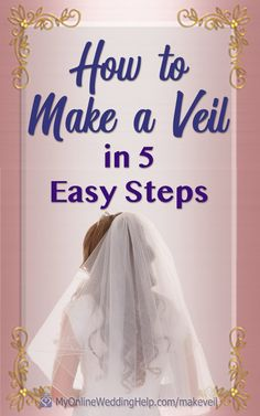 5 step-by-step instructions and videos showing you how to make your own wedding veil. DIY Step 1: measure and cut tulle or other veil fabric. Step 2: Make the blusher (optional) Step 3: Glue crystals, trim, or other decoration. Step 4: Create gathers at the crown / comb. Step 5: Sew on a veil comb. See how on the My Online Wedding Help blog. #DIYWedding