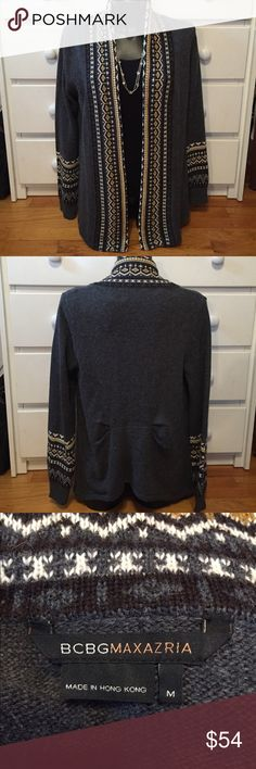BCBGMaxAzria Cardigan This cardigan is in good used condition and need a new home. It's super warm and cozy. The pattern is also very beautiful. Please feel free to make an offer. 😊 BCBGMaxAzria Sweaters Cardigans