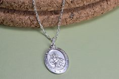 Christopher medal necklace, everyday wear, by MistybyDesign on Etsy St Christopher Necklace, Saint Christopher, Pendant Necklace, Sterling Silver, Trending Outfits, Unique Jewelry, Handmade Gifts, How To Wear, Etsy