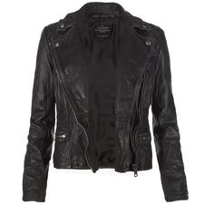 AllSaints Cargo Leather Biker Jacket ($498) ❤ liked on Polyvore