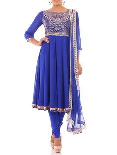 Blue Georgette Anarkali Suit Set
