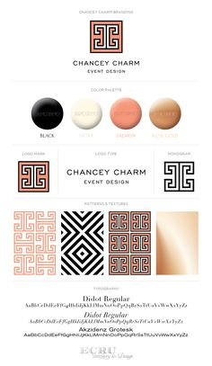 Wedding Planner and Event Designer Brand Design: Chancey Charm by ECRU Stationery & Design, Black White and Coral, Rebrand