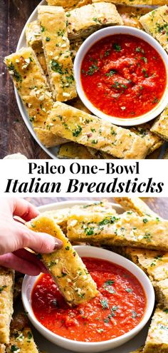 These easy, one bowl Paleo breadsticks are loaded with flavor and have the perfect chewy texture. Gluten-free, dairy free and perfect for dipping. Dairy Free Recipes, Diet Recipes, Cooking Recipes, Healthy Recipes, Dairy Free Dips, Cooking Tips, Soup Recipes, Healthy Snacks, Paleo Bread