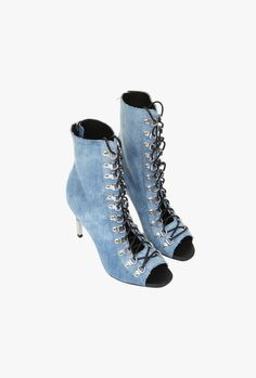 Denim lace-up ankle boots | Shoes | Women