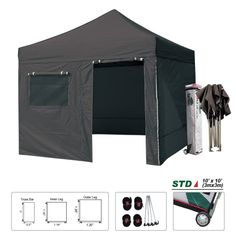 New STD 10x10 Feet Ez Pop up Instant Canopy Shade shelter  Commercial Tent Outdoor Gazebo W/4 zipper end side walls W/Roller bag * You can get additional details at the image link.
