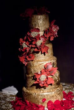 Gold and red flower cake; NYC - Cipriani Wedding - by Sonal J. Shah, LLC