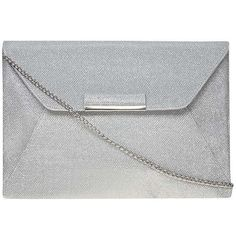 Dorothy Perkins Silver Envelope Tab clutch (1,245 DOP) ❤ liked on Polyvore featuring bags, handbags, clutches, silver and dorothy perkins