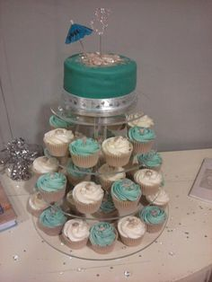 Beach Theme Wedding Cupcakes.....I need this stand!