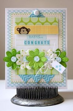 Love this spread of beautiful Petaloo embossed daisies.  What a beautiful mix and stitched look using Bella Blvd Baby Boy collection.