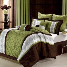 Chic Home Livingston Embroidered Comforter Set, Queen, Sage Brown Comforter, King Comforter Sets, Bedroom Sets, Bedroom Decor, Cozy Bedroom, Bedrooms, Stylish Bedroom, Luxury Bedding Sets, Bed Sets