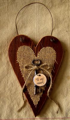 Prim, barn board and burlap heart.