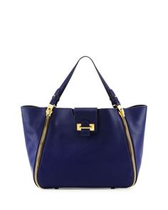Sedgwick Double-Zip Leather Tote Bag, Cobalt by TOM FORD at Bergdorf Goodman.