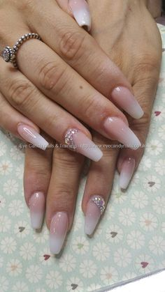Baby boomer french ombre fade with swarovski crystals