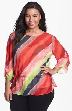 Sejour Print Chiffon Top (Plus Size) available at #Nordstrom